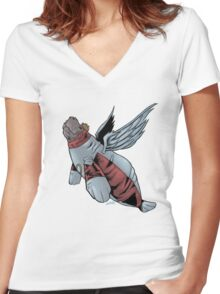 Angel Manatee SALE! Women's Fitted V-Neck T-Shirt