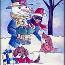 Winter Snowman with Dachshunds by dvampyrelestat