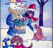 Winter Snowman with Dachshunds by dvampyrelestat