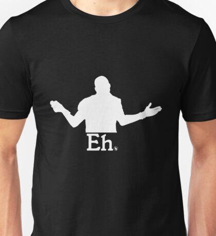 "The Famous Shrug ""Eh"" (White) Unisex T-Shirt"