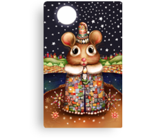 Little Bright Eyes the Radiant Christmas Mouse Canvas Print