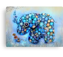 Little Blue the Patchwork Elephant Metal Print