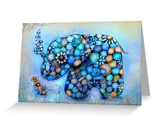 Little Blue the Patchwork Elephant Greeting Card