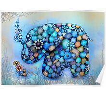 Little Blue the Patchwork Elephant Poster