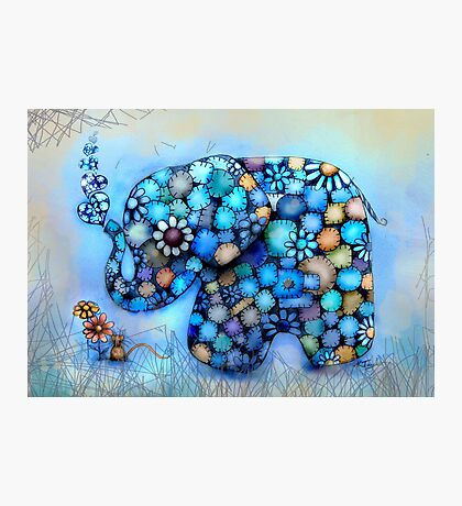 Little Blue the Patchwork Elephant Photographic Print
