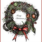 Christmas wreath card by Jenny Wood