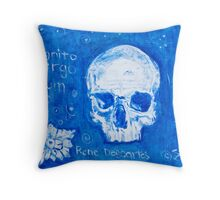 Rene Descartes in oil skull!  Throw Pillow