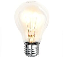 electric bulb lightened isolated on white background by keko64