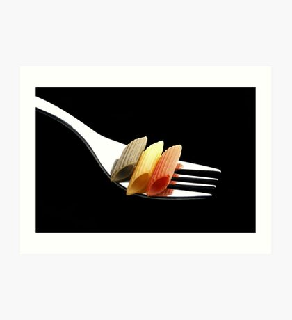 italian penne pasta on a fork on black background Art Print