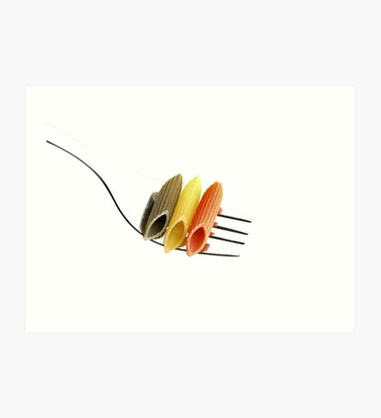 italian penne pasta on a fork ,on white background Art Print