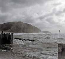 Stormy Grey Day At West Bay,Bridport,Dorset UK by lynn carter