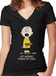 Charlie Make my day on black Women's Fitted V-Neck T-Shirt