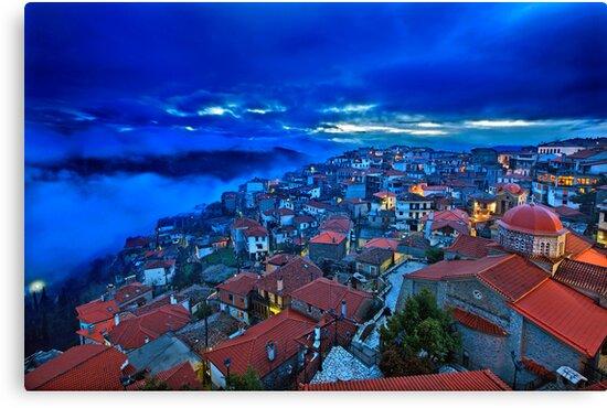 Night falling in Arachova by Hercules Milas