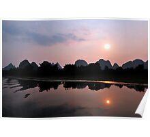 Li River Sunset, Yangshuo, China. Poster