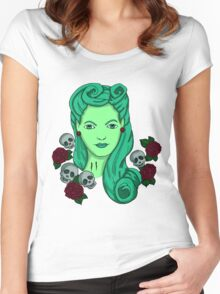 Tattoo Pin-Up Zombie Women's Fitted Scoop T-Shirt