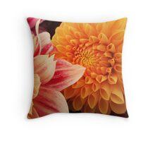 Flower macro - orange and pink Throw Pillow