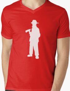 Firefighter Silhouette Mens V-Neck T-Shirt
