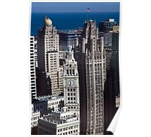Aerial View - Wrigley Building and Tribune Tower Poster
