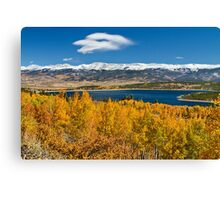 win Lakes Colorado Autumn Snow Dusted Mountains Canvas Print