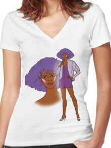 Jem and the Holograms - Shana - Color Women's Fitted V-Neck T-Shirt