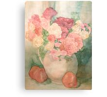 Floral Pitcher with Peaches Canvas Print