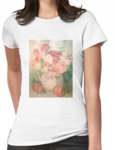 Floral Pitcher with Peaches Womens Fitted T-Shirt