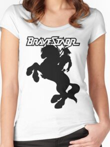 BraveStarr - Thirty Thirty and BraveStarr  - Solid Black - Shadow Art Women's Fitted Scoop T-Shirt