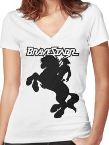 BraveStarr - Thirty Thirty and BraveStarr  - Solid Black - Shadow Art Women's Fitted V-Neck T-Shirt