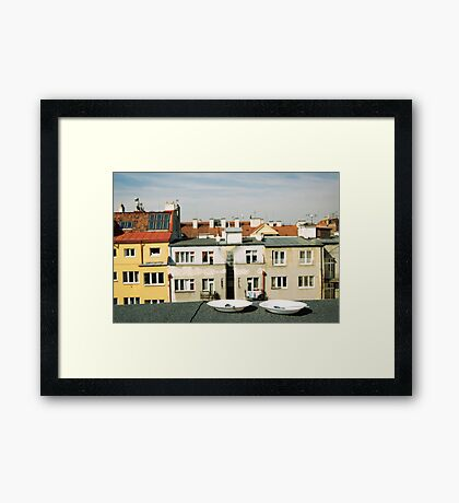 Breakfast on the rooftop Framed Print