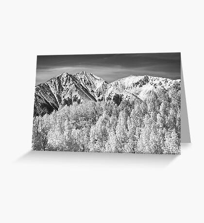 Colorado Rocky Mountain Autumn Magic Black and White Greeting Card