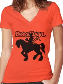 BraveStarr - Thirty Thirty and BraveStarr #2  - Solid Black - Shadow Art Women's Fitted V-Neck T-Shirt