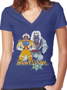 BraveStarr - Thirty Thirty and BraveStarr #3  - Color Women's Fitted V-Neck T-Shirt