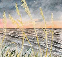 Beach at night art print by derekmccrea