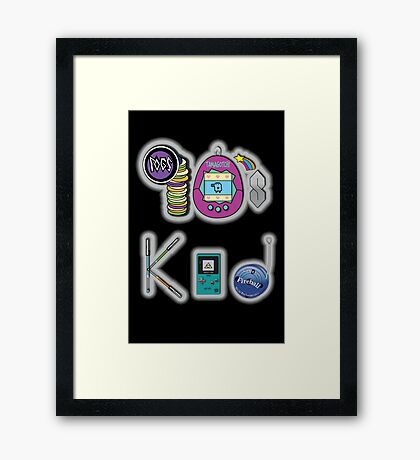 90's Kid in Midnight Black Framed Print