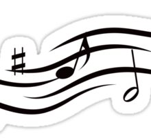 Flowing music design with musical notes and treble clef Sticker