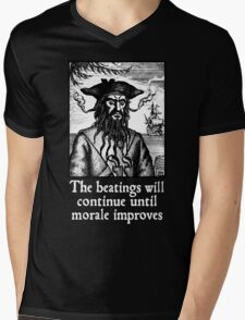 The Beatings Will Continue until Morale Improves Mens V-Neck T-Shirt