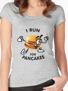 I Run For Pancakes! (Design #1 - BLACK) Women's Fitted Scoop T-Shirt