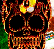 Day of the Dead Skull with Rebel & Mexican Flags Sticker