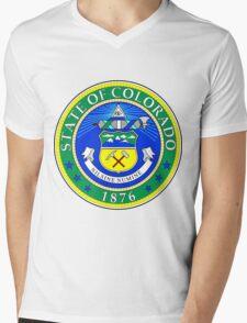 Green Colorado | State Seal | SteezeFactory.com Mens V-Neck T-Shirt