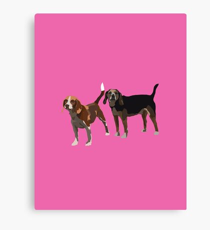 Magenta Beagles Canvas Print
