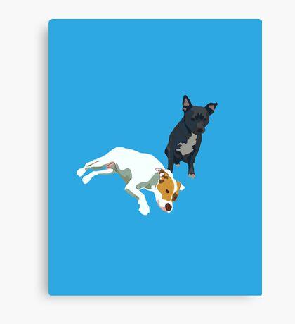 Bright Blue Puppies Canvas Print