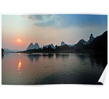 Sunset On The Li River, Yangshuo, China. Poster