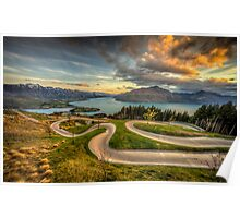 Queenstown Luge Sunset Poster