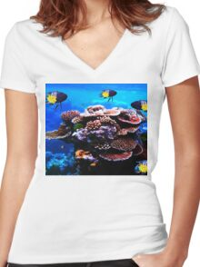 Closeup Coral and Fish Women's Fitted V-Neck T-Shirt