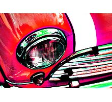 Red Retro Mini Cooper Photographic Print