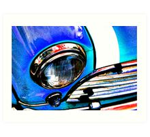 Blue Retro Mini Cooper Art Print