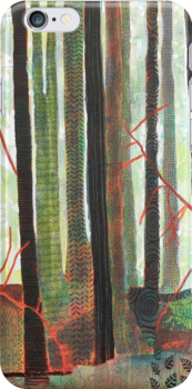 Embroidered Forest, mixed media and zentangles by Sandrine Pelissier