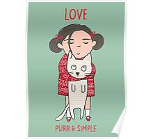 CUTE CAT AND GIRL, LOVE Poster