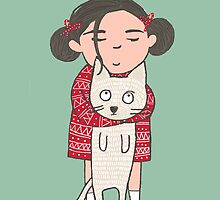 CUTE CAT AND GIRL, I'M SMITTEN, KITTEN by Jane Newland