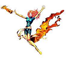 Phoenix Jean Grey Pixelated (Fire) Photographic Print